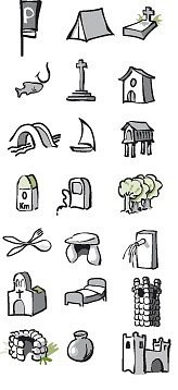 Iconos planos cicloturismo